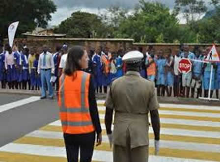 Demonstrating to students things to do on Zebra Crossing